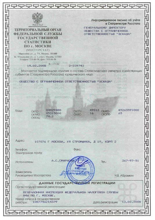 Письмо Петербурггоскомстата (коды Статистики)